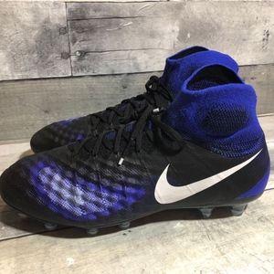 Nike Magista Obra II FG Cleats 8.5 BLACK Blue NWOB